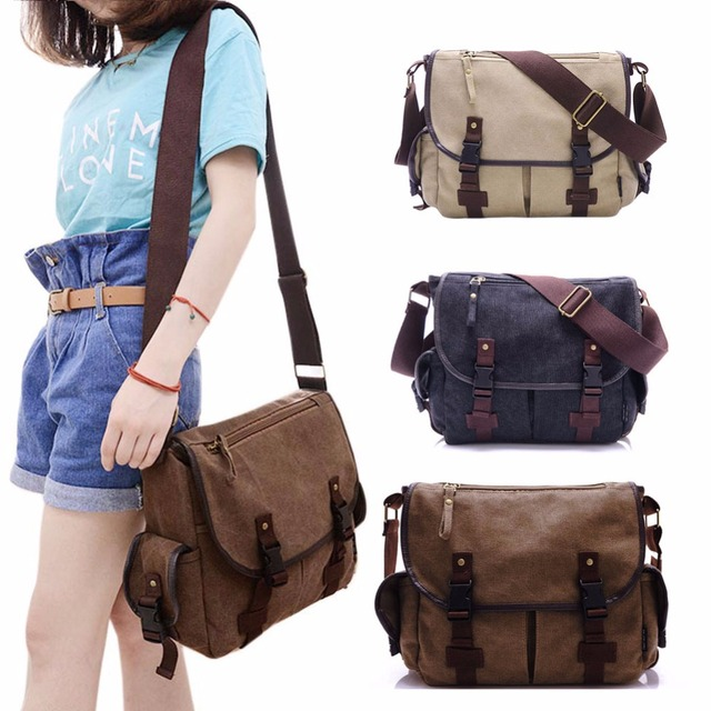 New Canvas Messenger Bags Men S Solid Cover On Casual School Shoulder Male Capacity Cross