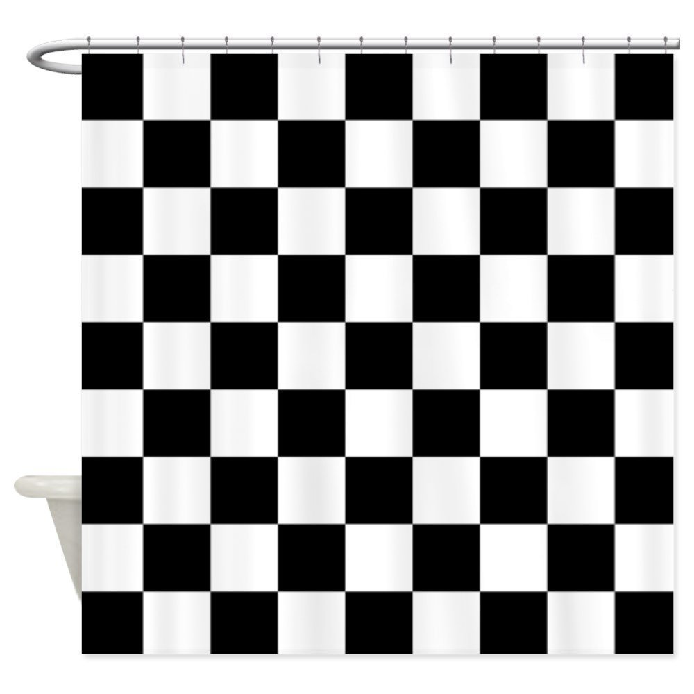 Black and white checked curtains - Memory Home Decration Decor Black And White Checkered Pattern Shower Curtain Polyester Waterproof Fabric Plaid Bath Curtains