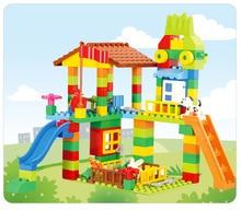 DIY Castle Educational Toy For Children Colorful City House Roof Big Particle Building Blocks Compatible LegoINGlys duplo slide цены