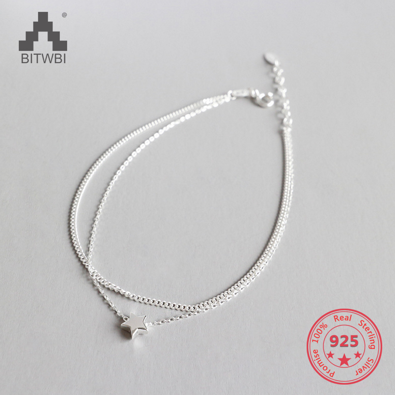 925 Sterling Silver Fashion Two Layers Star Charm Anklet For Women S925 Ankle Bracelet Adjustable Length