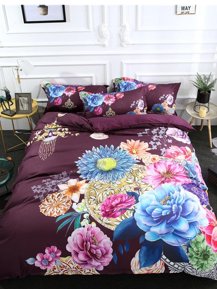 3Pcs Duvet Cover Set Luxury Floral Printed Delicate Comfy Bedding Set 3Pcs Duvet Cover Set Luxury Floral Printed Delicate Comfy Bedding Set