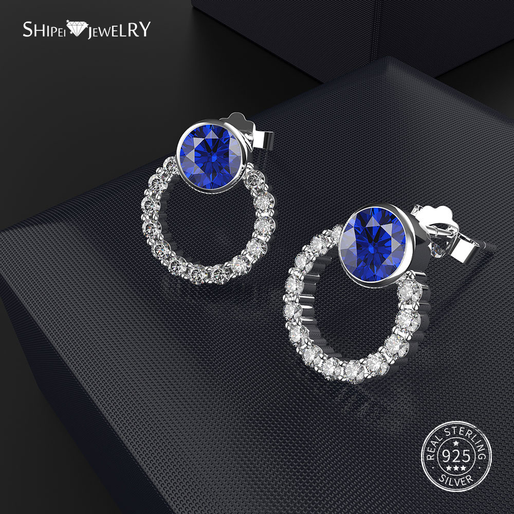 Shipei 100% Stering Silver White Sapphire Sapphire Round Stud Earrings for Women Birthday Gift Fine Jewelry Wholesale