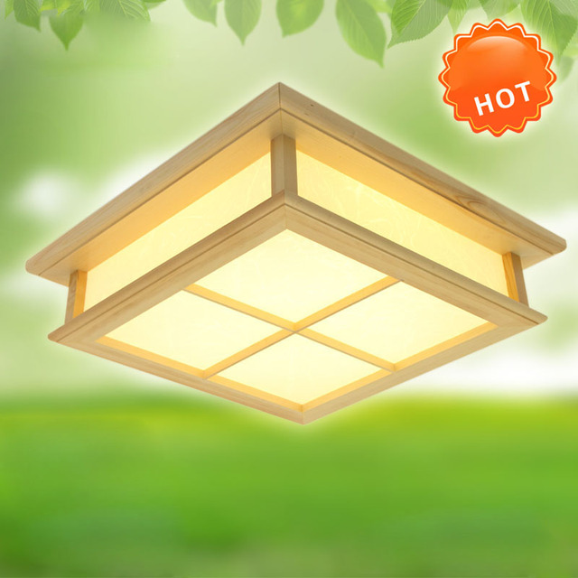 ceiling in led mounted 130 fixture for lamparas lamp de living Ceiling Wood Square Surface US59 techo PVC home 30cmModern room wooden bedroom OAK lFKJT1c