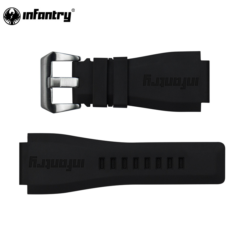 INFANTRY 24mm Watch Bands Black Silicone Rubber Bands For Watch Electronic Wristwatch Band Sports Watch Straps Replacement