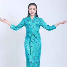 High quality Boutique Tibetan costume dress embroidered Three Quarter sleeve Tibet suits Robe Can custom made Black Blue Green