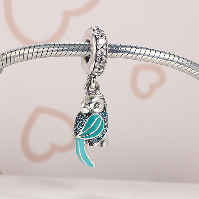 Parrot Beads Fits Pandora Charms Bracelet Enamels Teal&Clear CZ Beads Summer Style 100% 925 Silver Beads For Jewelry Making
