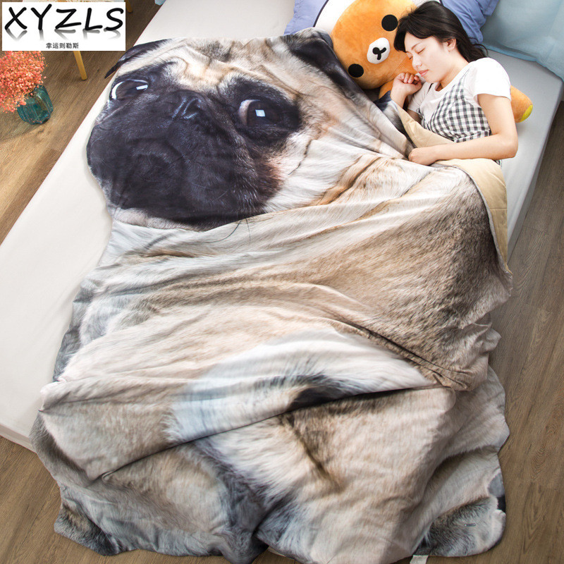 XYZLS Pug Kids Summer Quilt Adults Cute Puppy Nap Quilt On Bed/Sofa Children/Students Dog Air Conditioning Rest Blanket