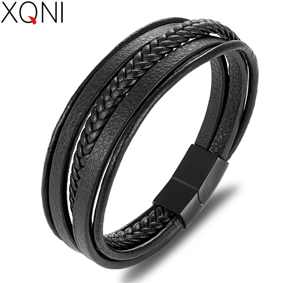 XQNI Trendy Men Jewelry Popular Black Color Genuine Leather Bracelet Multi-layer Design Charm Cuff Bangle For Handsome Boy Gift