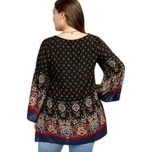 Plus Size 5XL Bell Flare Sleeve Ethnic Tribal Print Long Shirt Women Vintage Long Sleeve Loose Boho Top Oversized