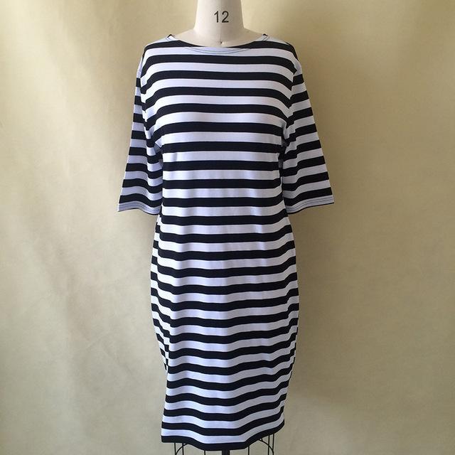 5XL 6XL Large Size 2019 Spring Autumn Dress Big Size Dress White Black Striped Dresses Plus Size Women Clothing Belt Vestidos