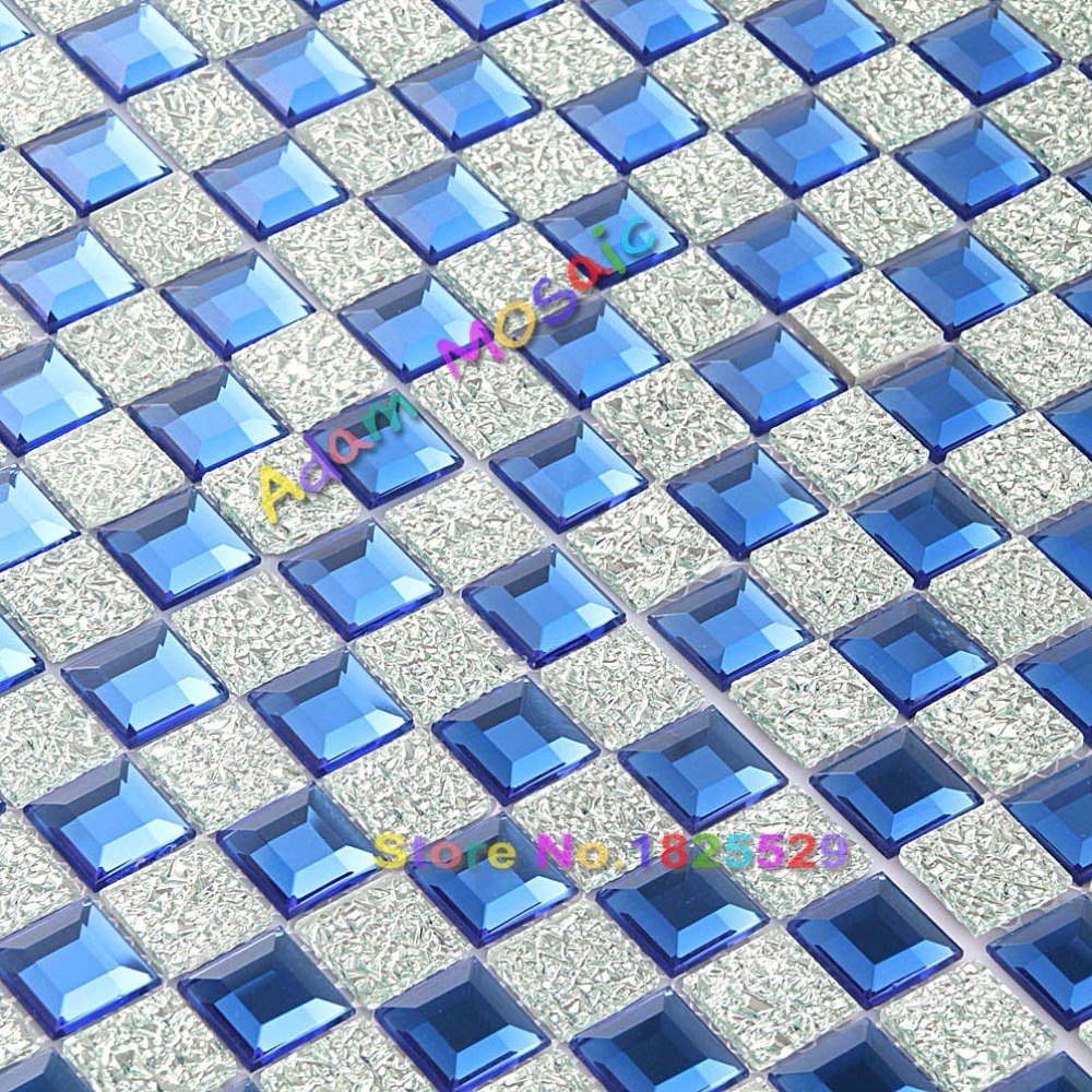 Glass Mirror Tile Blue Backsplash Kitchen Silver Diamond Mosaic ...