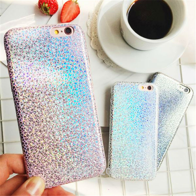LUDI Bling Glitter Case for iPhone 7 8 Plus Slim Soft PU Shiny Stone Texture Pattern Fundas for iphone 6 6s 6/6sPlus 5 5s SE