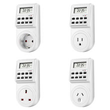 EU UK US FR BR Plug Digital Weekly Programmable Electrical Wall Plug-in Power Socket Timer Switch Outlet Time Clock  16A/3680W стоимость