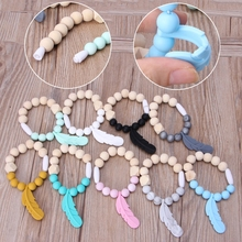 Feather Baby Teether Rings Beech Wood Teething Bracelet Infant Silicone Chew Toy