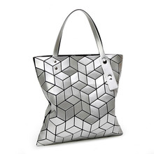 Japan style bao Women Bag Mirror Folding Handbag Ladies 3D Geometry Fashion shoulder bags Casual
