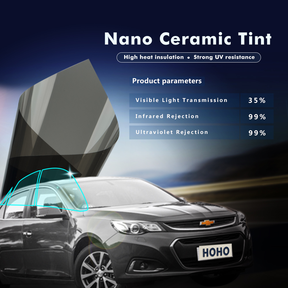 1x6m 35%VLT Car Sun Shades for Side Window Nano Ceramic Window Tint Film 35% 60% TSER 99% IR UV Rejection Professional Film the window office paper sticker pervious to light do not transparent bathroom window shading white frosted glass tint