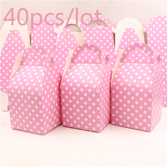 ec7f5131cd05 40pcs Happy Birthday Light Pink Polka Dots Theme Candy Box Party Kids  Favors Decoration Baby Shower Paper Gifts Boxes Supplies