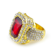 Men gold color Hip Hop Iced out Red Stone Cz Ring Size Available Luxury Woman Ring Mens Fashion Finger Bling bling Hip Hop Ring(China)
