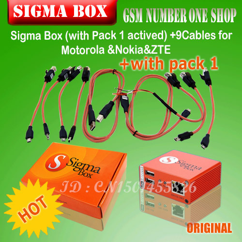 2016  The newest version sigma box with 9 cables with Pack 1 activation for t MTK-based Motorola Alcatel Huawei ZTE For  Lenovo