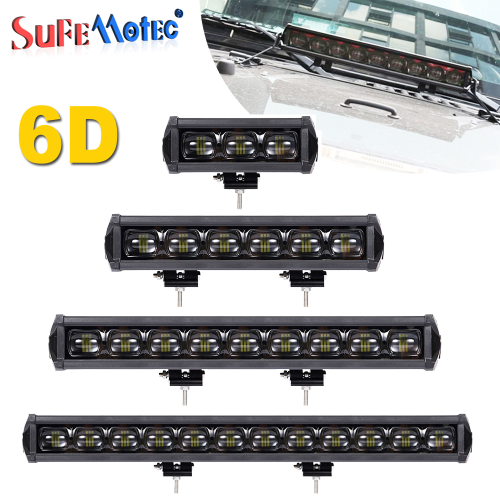 6D Lens 30W 90W 120W 150W 180W 210W 240W Single Row LED Light Bar For Off Road 4X4 Trucks ATV Boat Driving Work Lights 12V 24V 2pcs lot ip67 single rows 120w led work light bar 4x4 accessory led driving lights black house