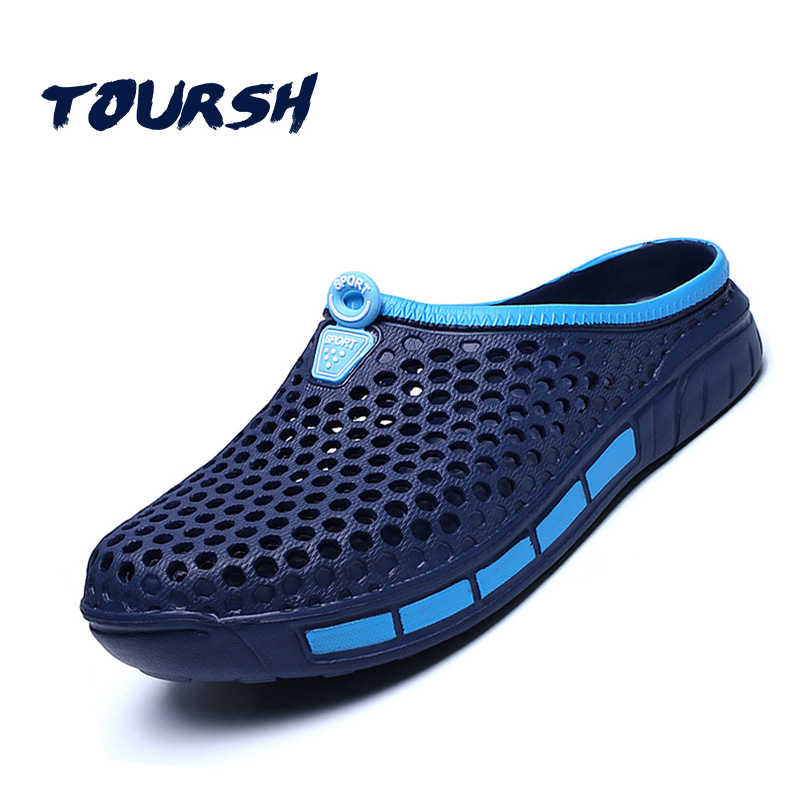 TOURSH 2018 Men Summer Shoes Sandals Breathable Beach Slip On Mens Slippers Walking Cool Outdoor For Casual Summer Slippers Blue sandals men fashion new brand buckle mens flip flop sandals casual slippers brown summer beach sandals men shoes breathable