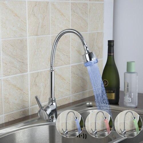 LED Light No Battery Kitchen Torneira 2015 Brand Chrome Swivel 360 Single Handle 8551-6 Deck Mount Basin Sink Faucet,Mixer Tap стоимость