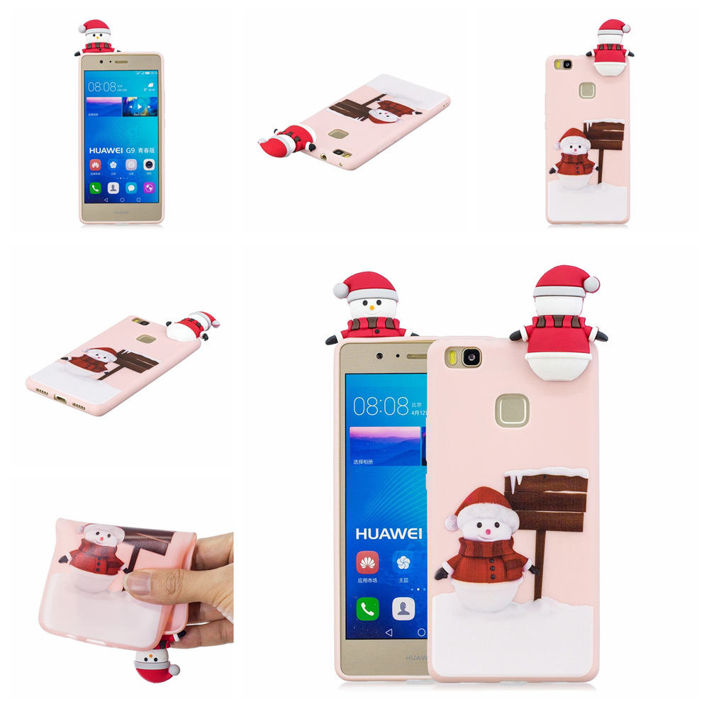 3D Cartoon Merry Christmas Case For Huawei P9 Lite Case Silicone Soft TPU Phone Coque Cases For Huawei P9 Lite Case Cover
