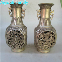 Collectible 1 Pair of Chinese Ming/Qing Dynasty Decorated Old Handmade Tibet Silver Dragon and phoenix Hollow Vase