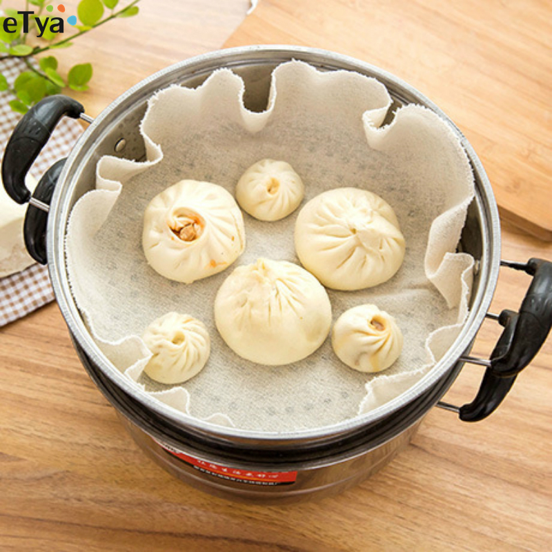 Round Dia 50cm Reusable Natural Pure Cotton Cloth For Pastry Baozi Jiaozi Buns Dumpling Steamers Rack Gauze Pad Best Quality