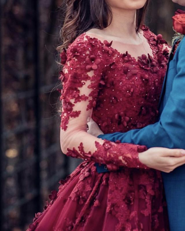 Saudi Arabic 3D Flower Lace Wedding Dresses 2019 Full Sleeves Vintage Burgundy Beaded Muslim Bridal Gowns Robe De Mariee