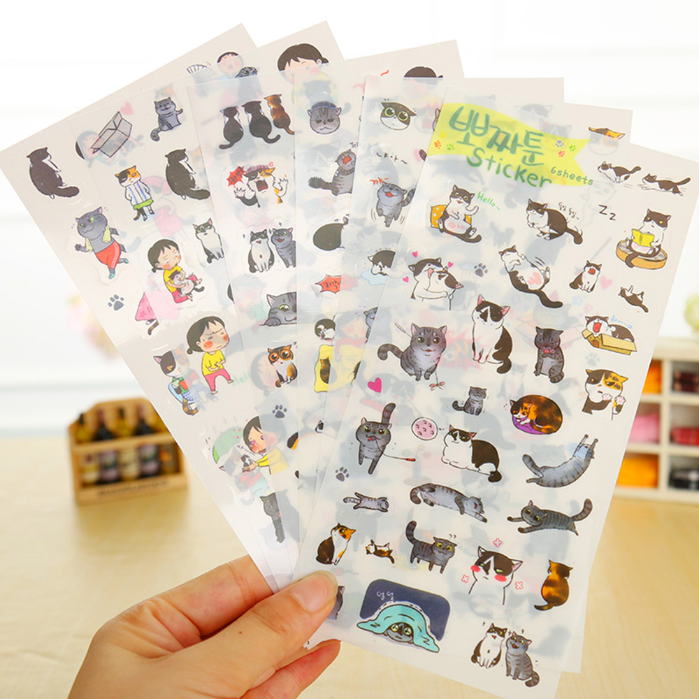 6 Pcs / Pack New South Korea Transparent Pvc Stickers Cute Cat Diary Photo Album Stickers