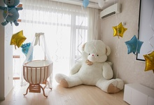 Photo Background Baby Crib Teddy Bear Birthday Party Star Balloon Gift Room Interior Photography Backdrop Photocall Studio
