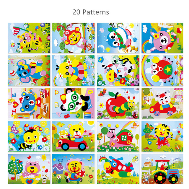 3D EVA Foam Sticker Puzzle Toys DIY Cartoon Animal designs Puzzle Series Early Learning Educational Toys for Children