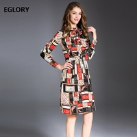 New 2018 Spring Summer Dress Ladies Stand Collar Fashion Print Long Sleeve Casual Women Loose Large