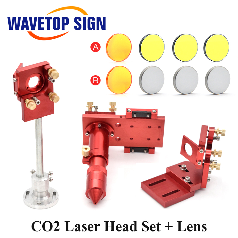 CO2 Laser Head Set Mounting Holder + Focusing Lens 1pcs + Si / Mo Reflective Mirrors 3pcs For Engraver Cutting Machine Parts