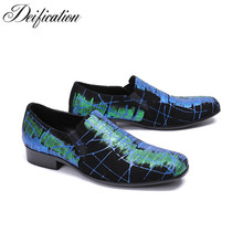 Deification Full Printed heren schoenen Men Loafers Leather Luxury Designer Slip On Mens Loafer Shoes Smoking Dress Moccasins
