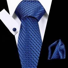 New  Designer 40 Colors Blue Sliver Mens Ties Hanky Cufflinks Set Silk Neck ties For Men Wedding Party Business Tie