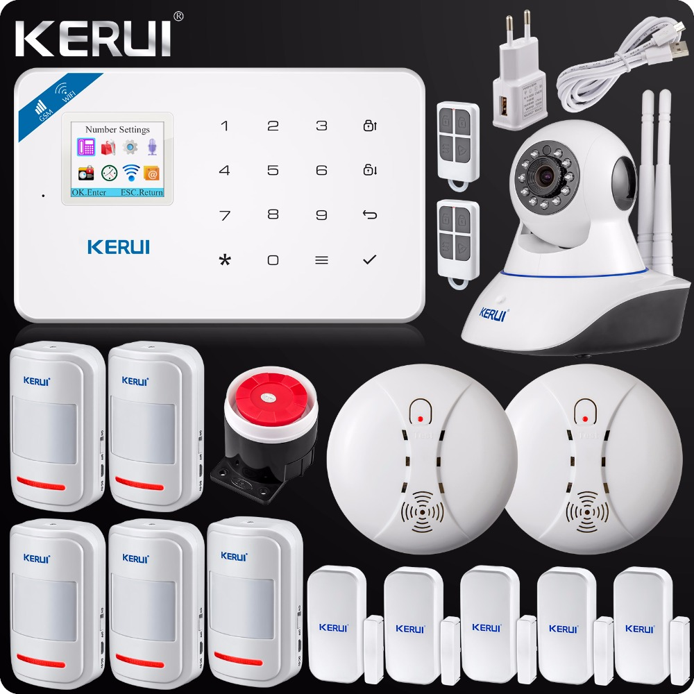 2017 W18 WIFI GSM SMS Burglar LCD Touch Screen Alarm Panel Home Security Alarm System+Wireless Smoke Detector+N62 Wifi IP Camera wireless smoke fire detector smoke alarm for touch keypad panel wifi gsm home security system without battery