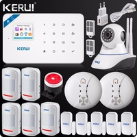 2018 W18 WIFI GSM SMS Burglar LCD Touch Screen Alarm Panel Home Security Alarm System+Wireless Smoke Detector+N62 Wifi IP Camera