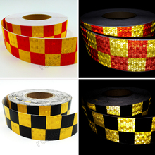 New 5cmx50m Safety Mark Reflective tape stickers car-styling square red white  Self Adhesive Warning Tape
