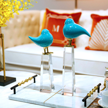 Modern Creative Crystal ceramic blue birds statue vintage home decor crafts room decoration objects study office figurines