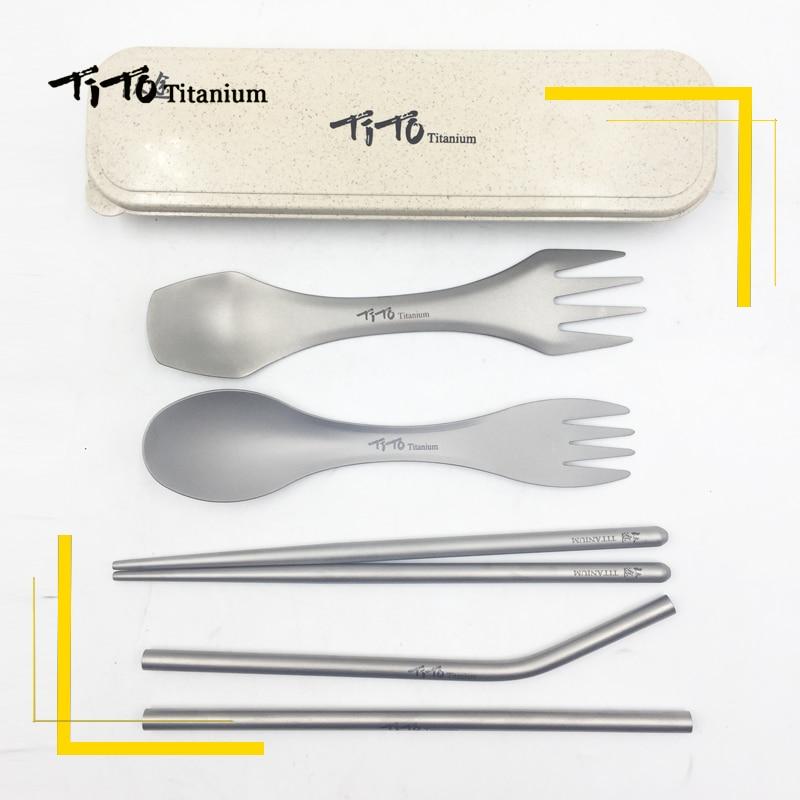 TiTo Outdoor portable titanium Spoon gift set titanium Fork Ultralight titanium Spork with short chopsticks and straw