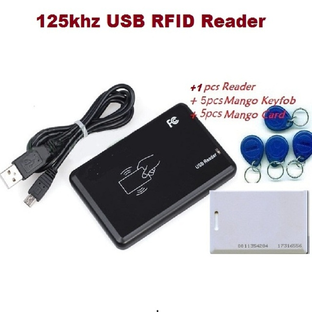 New Security Black USB RFID ID Reader Proximity Smart 125Khz EM4100 card Read Free Shipment &1pcs Device+5pcs KeyTag + 5pcs Card