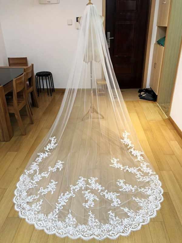 תמונות אמיתיות חדשות לבן/שנהב Appliqued מטפחת ולוס דה novia חתונה צעיף ארוך עם מסרק כלה אביזרי EE2003