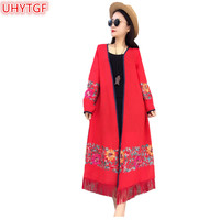 UHYTGF Ethnic style Sun Protection Clothing Windbreaker Coats Spring Summer Flower Embroidery thin Trench Coat Women Cardigan76