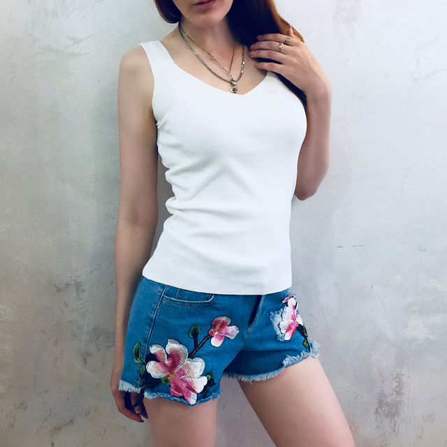GOPLUS 2019 Spring Crop Top Knitted Tank tops Women Plus size Sleeveless Sexy V Neck T