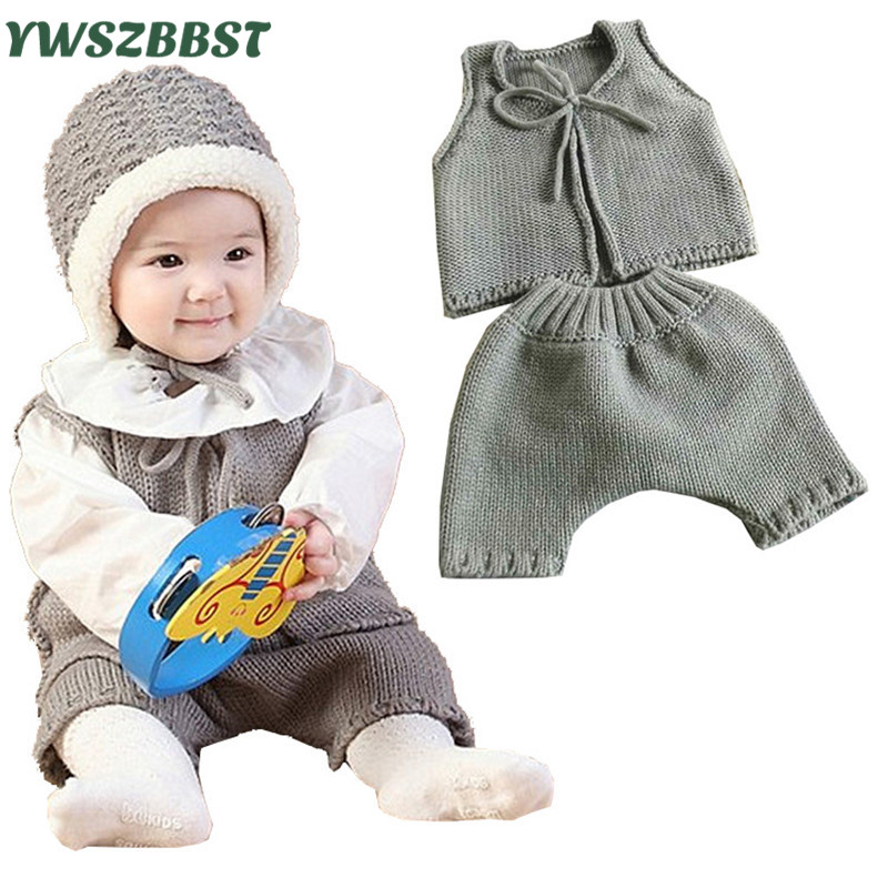 2pcs/set New Newborn Baby Knitting Romper Spring Autumn Infant Clothes Baby Vest and Pant Warm Crochet Outfits Casual Clothes free shipping new 2017 spring autumn baby clothing infant set gift baby jumpsuits newborn romper 4pcs set 2pcs romper hat bib