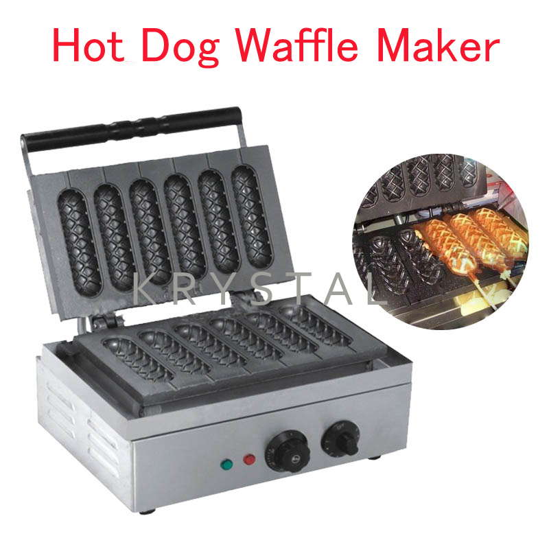 Electric Crispy Machine Lolly Waffle Maker 6PCS Non Stick French Hot Dog Mold EB-Q1 цена 2017