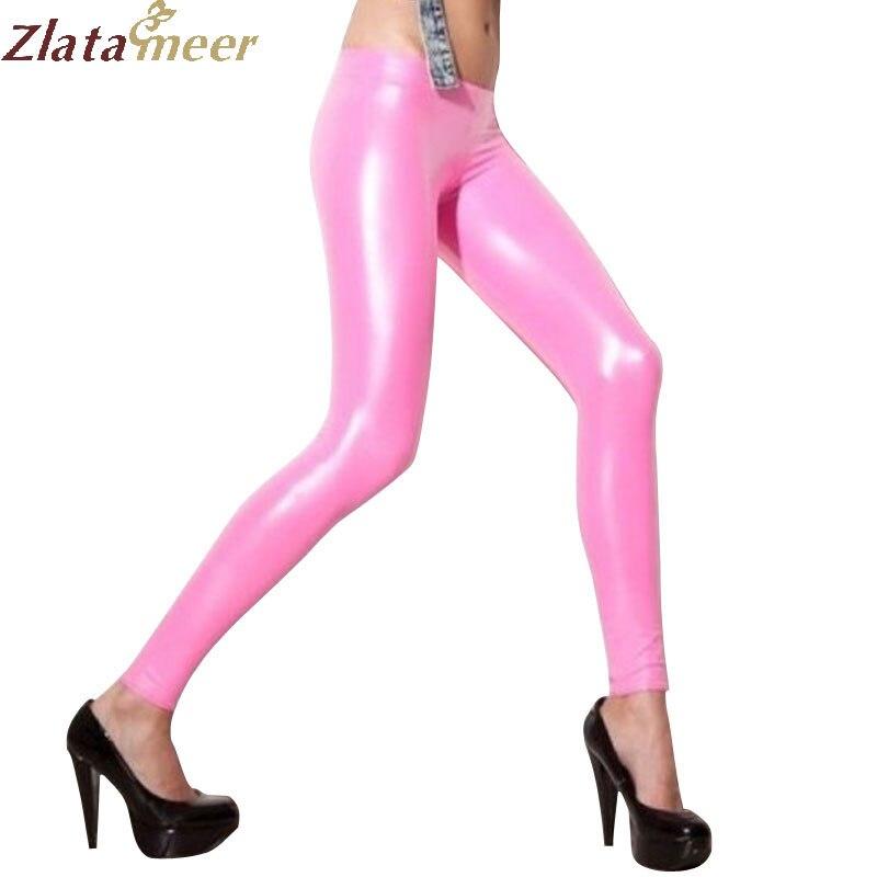 Женские розовые латексные леггинсы сексуальные плюс размер обтягивающие резиновые брюки LTW063