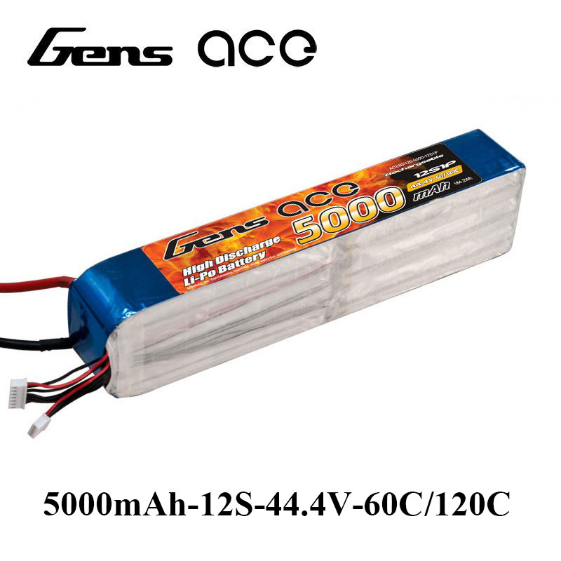 Gens ace Lipo Battery 12S 5000mAh Lipo 44.4V Battery Pack EC5 Connector 60C-120C Battery 600 700 800 Helicopter Accessories gens ace lipo battery 3s 5200mah lipo 11 1v battery pack 3 5mm banana connector 10c battery fpv hobbies rc models accessories